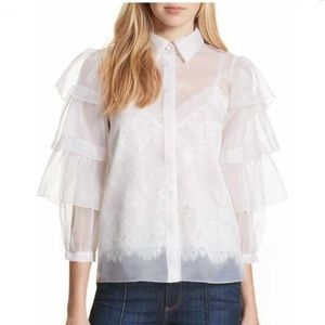 Nwt alice and olivia Mary sheer tier blouse